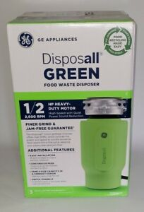 GE 1/2-HP Continuous Feed Garbage Disposal Disposall Green, Corded, New In Box