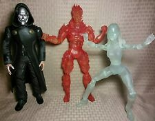 "Fantastic Four 12"" Movie Figures Lot- Invisible Woman Clear Human Torch Dr Doom"