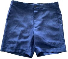 NEW, HOLLAND & SHERRY MEN'S BLUE LINEN SHORTS, CUSTOM, XXL