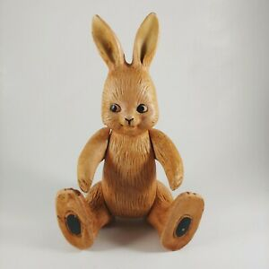 """8"""" Tall Brown Bunny Rabbit Ceramic Doll Figurine - Moveable Arms & Legs"""