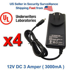 4x 12V Dc 3A Ac110-240V To Dc Power Supply Adapter For Led Strip and Camera Cctv