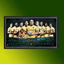 OFFICIAL RUGBY WORLD CUP AUSTRALIA QANTAS WALLABIES 2015 TEAM SPORT PRINT FRAMED