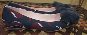 Kate Spade Navy Multicor Fabric Faux Fur Bow Ballet Flats NEW Size 6.5