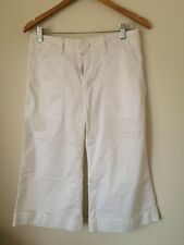 Gap Size 4 Cotton Lycra White Cropped Trousers <T4542
