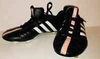 Adidas 11Questra Black Orange Stripe leather mens football boots size 9 Moulded
