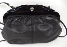 BLACK italian Leather shoulder bag Telaio Borsetta