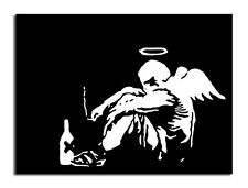 "BANKSY STREET ART *FRAMED* CANVAS PRINT Fallen Angel 24x16"" stencil -"