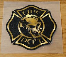 "Fire Department Black with Sign Gold  2.25"", Skull  #FD12"
