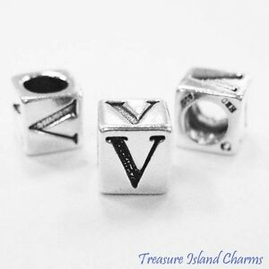 Letter V 925 Solid Sterling Silver Alphabet 7mm Block Bead 5mm Hole Diameter