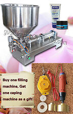 single nozzle bottle paste filling machine with foot pedal,bottle capper,hopper
