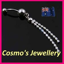14G Clear Gems Crystal Tassel Double Chains Dangle Navy Ring Belly Piercing