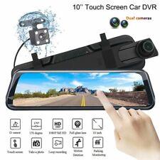 10'' HD Dual Lens Car DVR Rearview Mirror Dash Cam Vedio Recorder + Rear Cameras