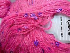 2 x 50 g mohair Yarn. Rose Avec Violet Fleur Paillettes. TRICOT/CROCHET/TISSAGE