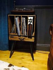 RETRO RECORD PLAYER CABINET LP'S VINYL RECORD HOLDER STORAGE WOOD AND METAL**