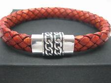 sterling silver 925 magnatic clasps w/braided Italian leather bracelet men/women