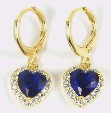 Women's 18 Carat Gold Plated Blue Heart Zircon Huggie Dangle Earrings jewellery