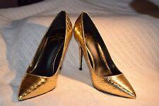 NEW Stunning Women's Size  6  LFL Shiny Gold Elektrik Reptile High Heel Shoes