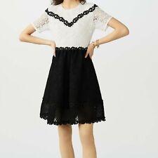 MAJE Black & White Short Sleeved Lace Dress T3 FR40 UK 12 NEW was £380