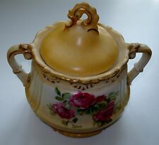 Vintage RS Prussia Fancy Molded Sugar Bowl With Roses Gold Leaf Front Only