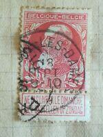 N°297 Timbre Oblitéré avec charnière Belgique Léopold II 1905 rose BE