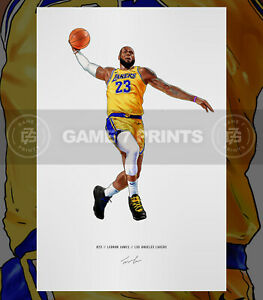 Lebron James Los Angeles Lakers Basketball Illustrated Print Poster Art