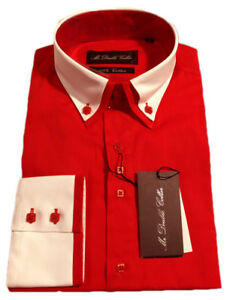 MENS SHIRT SMART FORMAL DOUBLE COLLAR LONGSLEEVE - MULTIPLE COLOURS AVAILABLE!