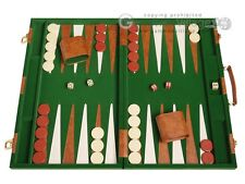 "Deluxe Backgammon Board Game Set - 18"" Green Attache Case"