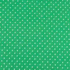 Teeny Weeny White Hearts on Mint Green, Cotton Fabric, Per 1/2 Yd