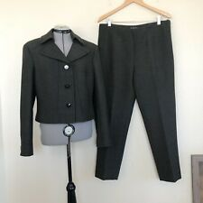Brooks Brothers Grey/Green Wool Stretch Jacket Blazer Pant Suit 12/14 NEW
