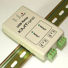 KMTronic USB 2 Relais Controller, RS232 Serieel gestuurd, BOX, DIN rail