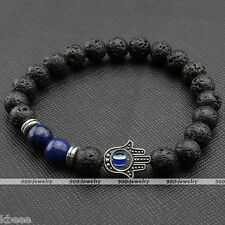 Vintage Lava Rock Stone Hamsa Hand Lapis Lazuli Charm Elastic Bangle Bracelet