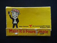 MAKE IT A FOUREX MATE SPONSOR XII COMMONWEALTH GAMES BRISBANE 1982 MATCHBOOK