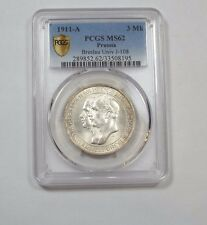 1911-A PRUSSIA  Silver 3 Mark PCGS SECURE PLUS MS 62 Breslau University J-108