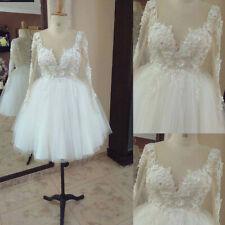 Short Wedding Dresses Beaded V Neck Long Sleeves 3D Flower Applique Knee Length