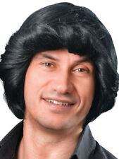 Adult Mens Black Retro Pop Star Used Car Salesman Wig Fancy Dress Accessory New