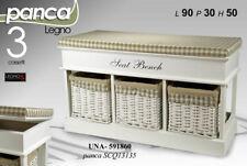 MOBILE PANCA 3 CASSET BIANCA H50*90*30 IMBOTTITA CASSETTIERA VIMINI LEGNO 591860