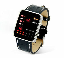 Led Binary Digital Watch Fashion Casual Sport Wrist Watches Leather Strap UK Slr