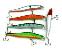 5pcs 12cm/10g Fishing Lures Bass Baits Minnow Crank Bait 6# Hook Ice Sea Tackle