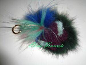 Echtfell Bag Bugs Monster Accessoires Deko Schmuck Taschenanhänger Neu grün