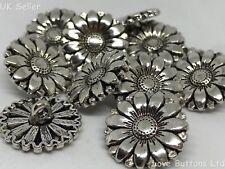 5 botones de plata de vástago de metal diseño de flores 17mm Blazer Abrigo Crafts