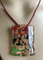 new 100% Handmade Lampwork Glass Murano Bead Cylindrical type Pendant Necklace