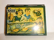 Antique German child's tin toy Kasse cash box w/ Grimland (1940's) play money