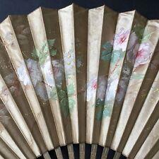 Grand EVENTAIL Décor Soie Peinte Fleurs Monture Bois 1900 ANTIQUE FAN