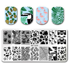 Nail Art Image Plate Stamping Template Summer Fruit Leaf Crane Decor BORN PRETTY