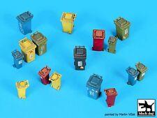 Black Dog 1/72 Plastic Waste Container w/2-Wheels & Lid (16 pcs, 2 sizes) D72041