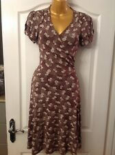 River Island Brown & Cream Vintage Floral Fit & Flare Dress UK Size 8