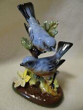 "VINTAGE 6"" TALL BLUE BIRD FIGURINE-MARKED-HIGH GLOSS PORCELAIN-IMPERFECT"