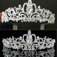 Wedding Bridal Princess Crystal Prom Hair Tiara Crown Veil Headband w/ Comb/Hole