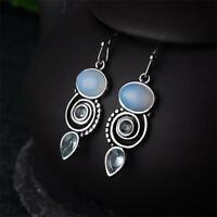 Wedding Jewelry Moonstone Earrings Peridot Multi-Gemstone Topaz Ear Stud