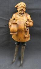Antique 1900 German Black Forest Carved Wood Figural Chamois Horn Hook Rack